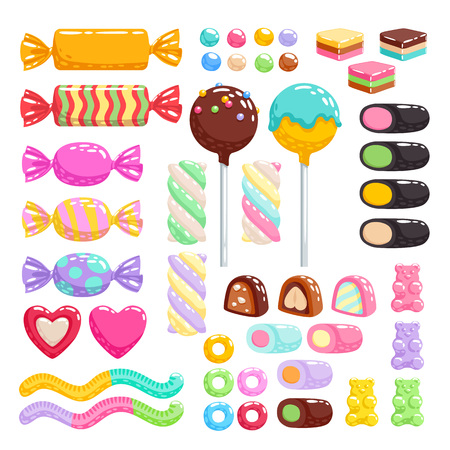 Colorful candies set - hard candy, chocolate bonbons, licorice, marshmallow twists, cake pops, gummy bears, dragee. Vector illustration in cartoon style. Assorted sweets. Çizim
