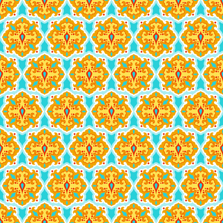 Colorful arabesque seamless beautiful oriental arabic or indian pattern. Abstract vector background. Ilustrace