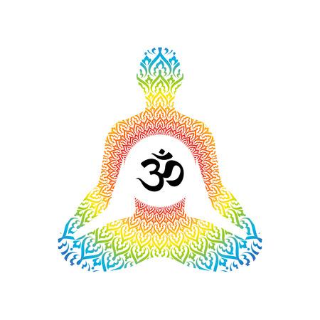 Meditating human in lotus pose. Yoga illustration. Illustration