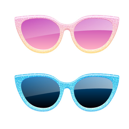 Set of glitter sunglasses icons. Fashion glasses accessories. Illustration