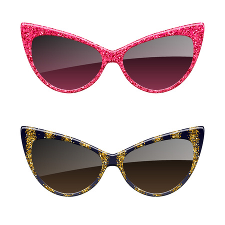 Set of red and golden glitter sunglasses icons. Fashion glasses accessories.