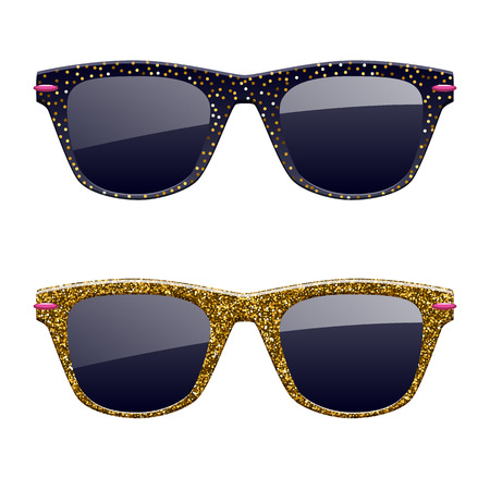 Set of golden glitter sunglasses icons. Fashion glasses accessories.