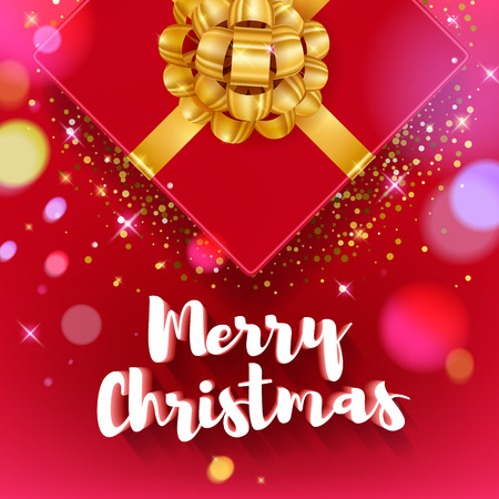 Merry Christmas greeting colorful vector illustration. Vintage classic 3D letters calligraphy and gift box with golden ribbon poster card banner design. New year background - golden glow stars bokeh. Illustration
