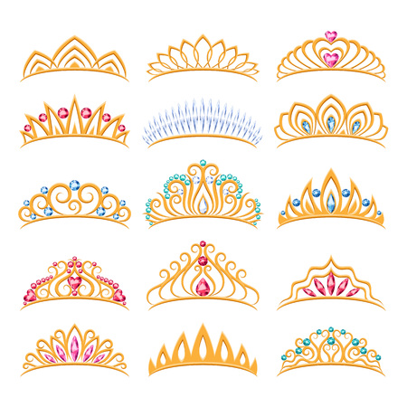 Set of beautyful golden tiaras with gemstones. Princess crowns. Jewelry collection.