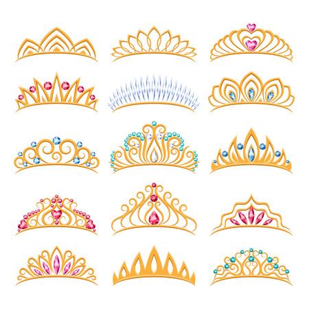 Ensemble de diadèmes dorés magnifiques avec des pierres précieuses. Couronnes de princesse. Collection de bijoux.