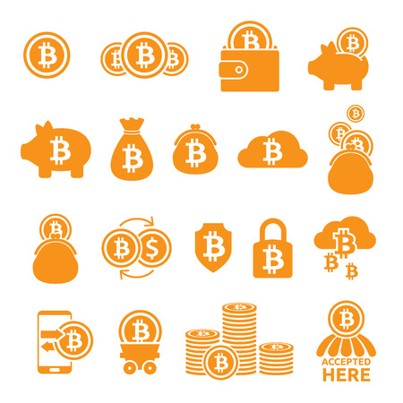 Bitcoin icons set. Criptocurrency symbols. Blockchain technology. Illustration