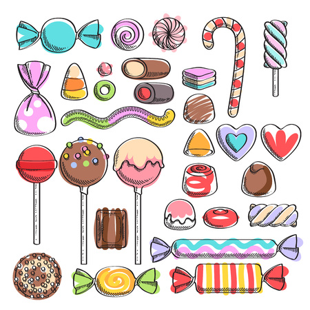 Colorful candies set - hard candy, chocolate bonbons, licorice, marshmallow twists, cake pops, dragee. Vector illustration in sketch style. Assorted sweets. Çizim
