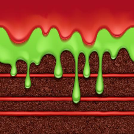 Schokoladen-Biskuitkuchen mit roter Cremefüllung und farbigem Glasurflusshintergrund. Bunte horizontale nahtlose Textur. Vektorillustration. Halloween-Farben.