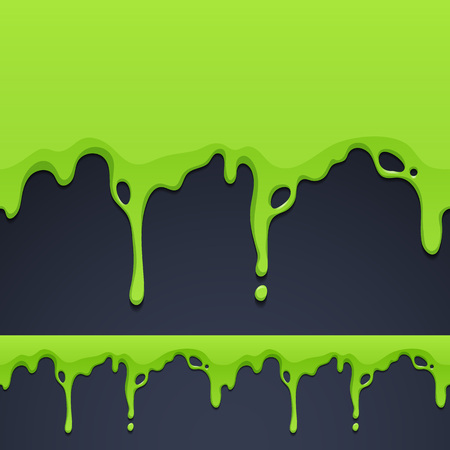Dripping green paint or slime texture seamless horizontal border. Vector illustration. Illustration