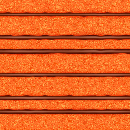 Orange sponge cake with chocolate cream filling background. Colorful seamless texture. Vector illustration. Hallowen colors.