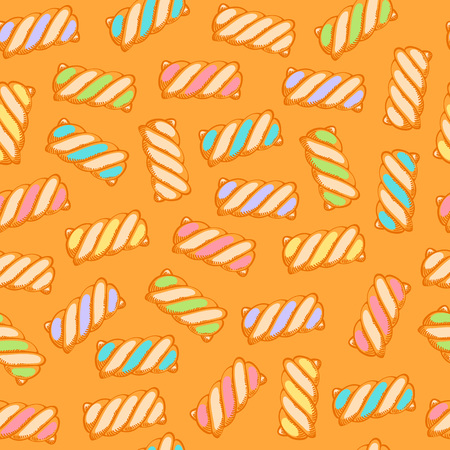 Colorful marshmallow twists seamless pattern background vector illustration. Hand drawn doodle sketch. Иллюстрация