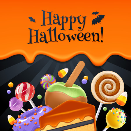 Halloween sweets colorful party background with lollipop, candy corn, cake pops, caramel, apple and donut, good for holiday design. Dripping orange background with greetings.