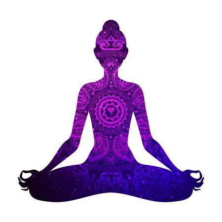 Meditating woman in lotus pose. Yoga illustration.