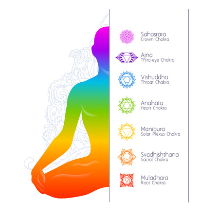 Colorful meditating man silhouette and chakras. Illustration