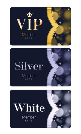 Member or discount cards with abstract background. Different cards categories - VIP, silver, white. Glow bokeh background with ribbon.