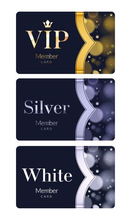 Mitglieds- oder Rabattkarten mit abstraktem Hintergrund. Verschiedene Kartenkategorien - VIP, Silber, Weiß. Glühen Sie Bokeh-Hintergrund mit Band.