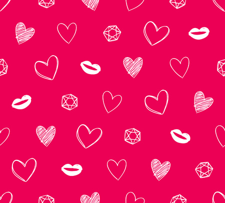 Hearts, lips and diamonds seamless pattern. Hand drawn texture. Vector background. Good for valentines day poster banner greeting card design.
