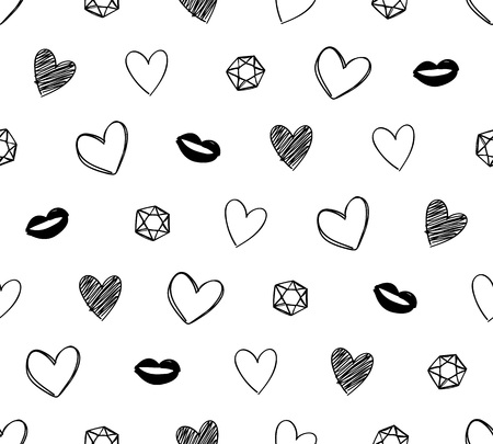 Hearts, lips and diamonds seamless pattern. Hand drawn texture. Vector background. Good for valentine's day poster banner greeting card design.