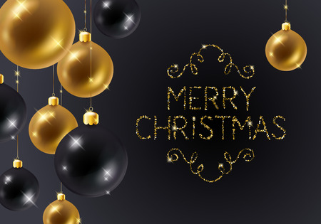 Christmas background with golden and black baubles and glitter text. Christmas tree decoration. Greeting card design.
