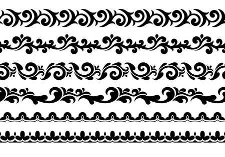 Decorative seamless borders vector set. Abstract floral design.