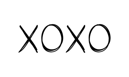 Hugs and kisses message for valentines day designs - t-shirt, greeting card, invitation. Sketch style. Ilustração
