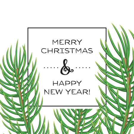 Merry Christmas greeting card with christmas tree branches. New year vector background.