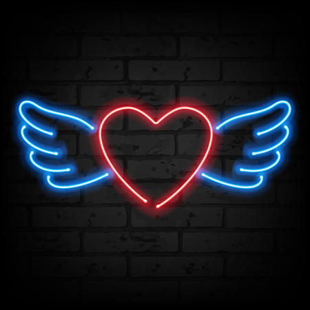Neon heart with wings on brick wall. Love symbol. Valentines day design. Ilustração