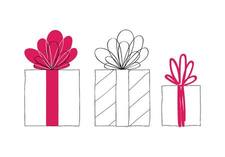 Gift boxes hand drawn vector set. Doodle style. Ilustração