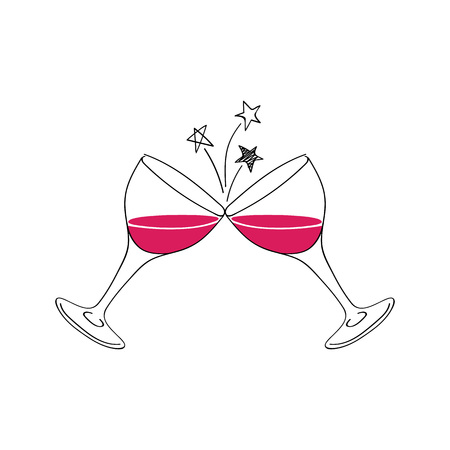 Two wine glasses vector illustration. Doodle style. Ilustração