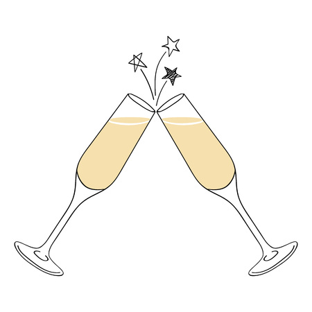 Two champagne glasses vector illustration. Doodle style.