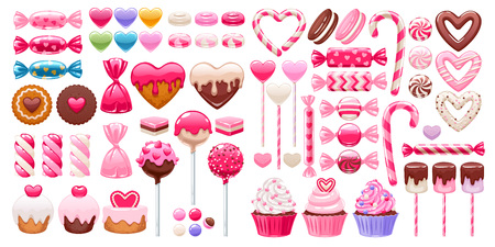 Valentine's day sweets set - marshmallow, hard candy, dragee, cake pop, jelly, peppermint candy, chocolate cookies, cupcakes vector illustration Archivio Fotografico