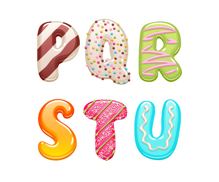Decorated sweets abc letters set - cookies and candies alphabet design.