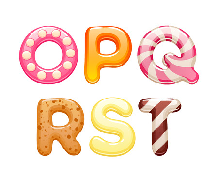 Decorated sweets abc letters set - cookies and candies alphabet design. Vector Illustration