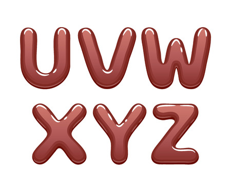 Chocolate abc letters set - sweet alphabet design.