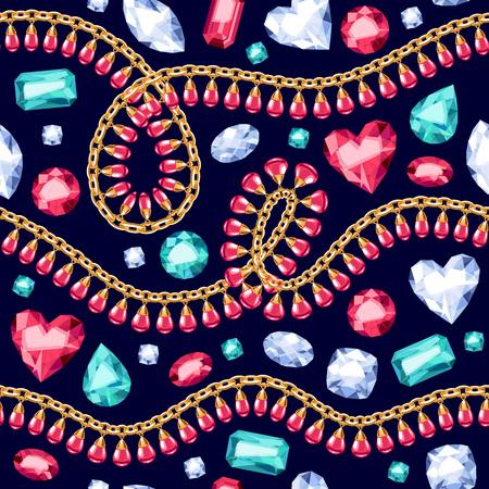 Golden chains with gemstones seamless pattern on black background. Necklace or bracelet illustration. Good for cover card banner luxury design.