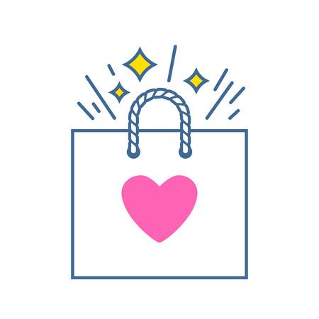 Paper gift bag with pink heart. Valentines day greeting card illustration. Ilustração