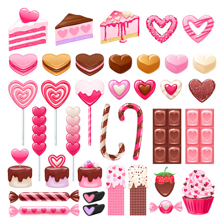 Valentines day sweets set - marshmallow, hard candy, chocolate, cake pop, cupcake, cookies, cakes, waffles vector illustration