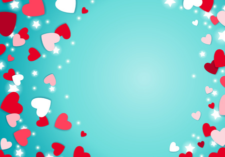 Scattered red and pink hearts and glowing stars background. Valentines day design.