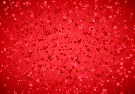 Red hearts sequins background. Metallic hearts random pattern. Valentines day design. Ilustração