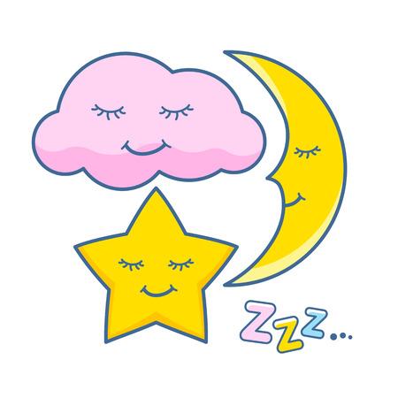 Cute sleeping cloud, star and moon icons set. Sweet childlren vector illustration.