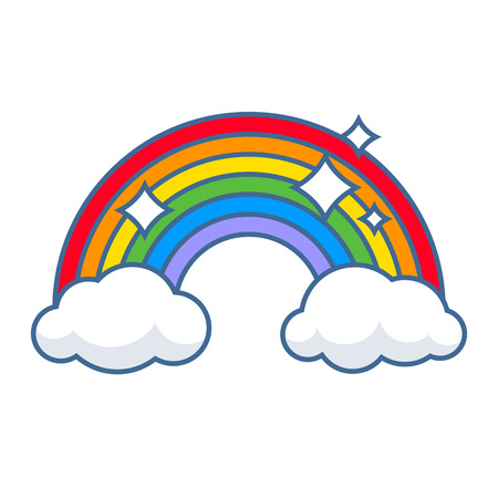 Colorful rainbow and clouds with sparkles icon vector illustration. Weather after the rain symbol.