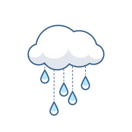 Cute cloud icon with rain droplets. Sweet childlren vector illustration. Ilustração