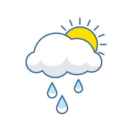 Cute cloud and sun icon with rain droplets. Sweet childlren vector illustration.