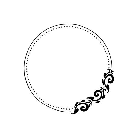Vector round frame with abstract ornament.