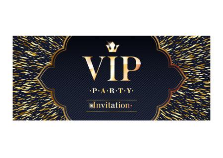 VIP party premium invitation card poster flyer. Black and golden design template. Golden glitter burst decorative background.