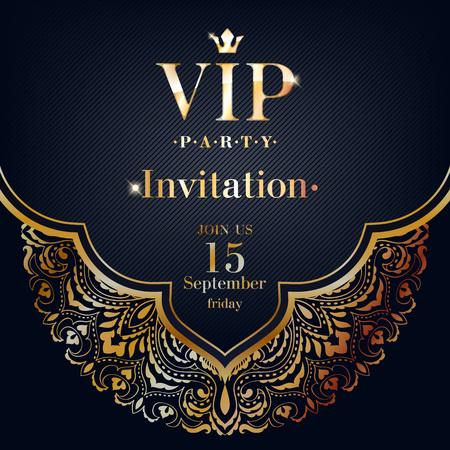 VIP party premium invitation card poster flyer. Black and golden design template. Golden mandala ethnic decorative background. Ilustração