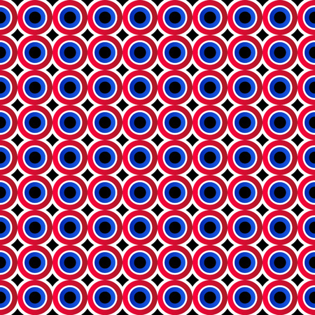 Abstract seamless background. Colorful circles. Black, red, blue and white geometric pattern