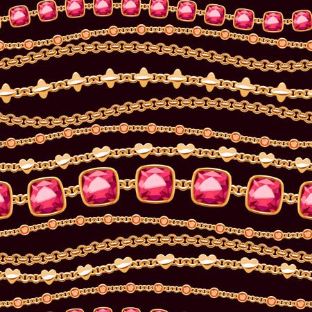 Assorted golden chains on black background seamless pattern. Good for cover card banner luxury design. Necklace or bracelet vector illustration.