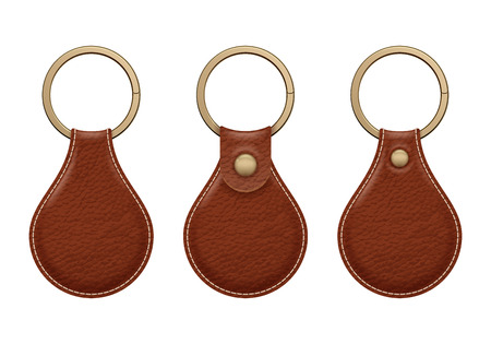 Leather key rings set. Key chains trinkets accessory vector design.