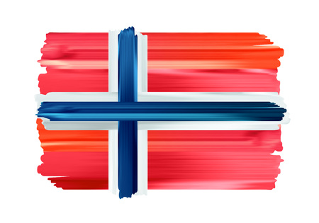 Norway colorful brush strokes painted national scandinavian country Norwegian flag icon. Painted texture.